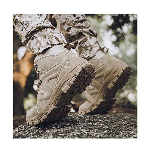 Botas De Invierno para Hombre + Plantillas Botines De Combate Tácticos De Fuerza Especial De Calidad Zapatos De Trabajo del Ejército Botas De Nieve,Beige-46