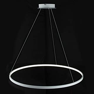 サークルペンダントライトモダンLEDシャンデリア金属アクリル1-ライト調節可能吊り下げランプリビングルームキッチンオフィス,White+NeutralLight-40cm25W