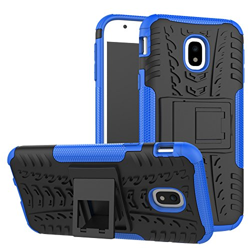 Skytar Galaxy J3 2017 Tasche,Handy hülle für Samsung J3 2017,2IN1 Hybrid Soft Flex TPU Silikon & Hart PC Schutzhülle Back Case Cover für Samsung Galaxy J3 2017 DUOS / SM-J330F Hülle mit kickstand,Blau