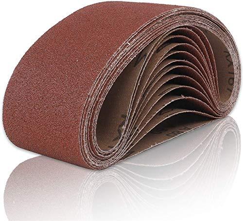 Coceca Sanding Belts 3x21 Inches (75x533mm) Aluminum Oxide Sanding Belt, 80 Grits 12pcs for Belt sander