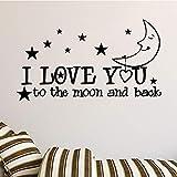Little Stars With Moon Pattern Vinilo decorativo para habitación infantil Accesorios decorativos Vinilos decorativos Papel tapiz Dorado L 43cm X 80cm