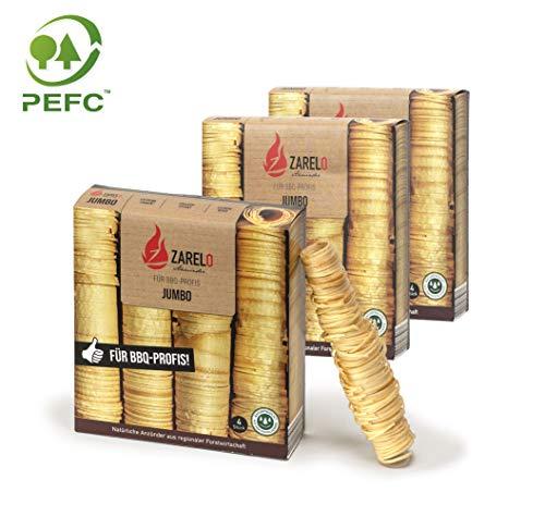 Zarelo Jumbo Grillanzünder für BQQ-Profis 3 Packungen, 100% natürlich aus Holz und Wachs, Holzwolle Anzünder aus nachhaltiger Forstwirtschaft