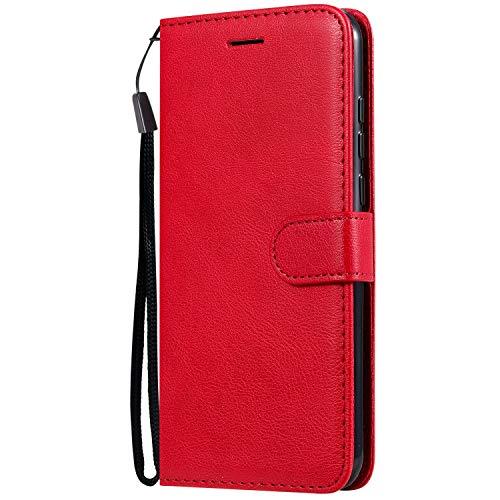Jeewi Hülle für LG W30 Hülle Handyhülle [Standfunktion] [Kartenfach] [Magnetverschluss] Tasche Etui Schutzhülle lederhülle klapphülle für LG W30 - JEKT051174 Rot