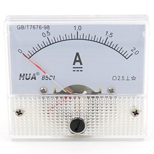 Heschen 85C1-2A Stromzähler / Amperemeter, rechteckig, DC 0–2 A, Klasse 2,5, Weiß