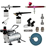 ABEST Airbrush Compressor Kit Airbrushing System with 3 Airbrushes in 0.3MM, 0.35MM, 0.8MM, Quick Coupler, Air Hose, Airbrush Holder