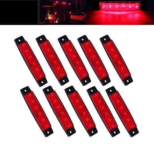 JinXiu 10 piezas 3.8' 6 LED Luz lateral lateral piloto luces de señalización para camiones, luces...