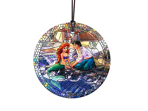 Trend Setters Disney - The Little Mermaid - Ariel and Eric - Stained Glass Style - Starfire Prints Hanging Glass – Light Catching Hanging Décor – Ideal for Gifting and Collecting