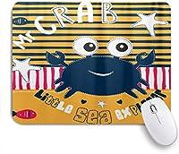 HASENCIV ゲーミング マウスパッド,縞模様の背景にかわいいカニの魚,マウスパッド レーザー&光学マウス対応 マウスパッド おしゃれ ゲームおよびオフィス用 滑り止め 防水 PC ラップトップ