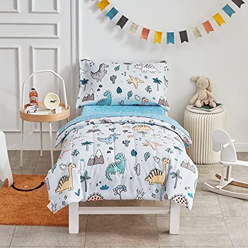 Joyreap 4 Piece Toddler Bedding Set, Cute Dinosaur on Light Blue, Ultra Soft Microfiber Toddler Comforter for Kids Boys Girls, Includes Quilted Comforter, Fitted Sheet, Top Sheet, and Pillow Case