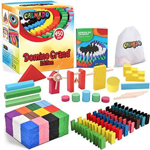 calmado - 450 teilig Domino Steine aus Holz Domino Grand Edition im Set + Tasche + Anleitung + Accessoires