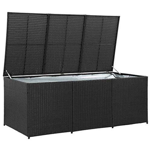 Outdoor Storage Chest Box–Large Storage Shed Container with Lid for Garden, Porch, Patio, Conservatory to Store Cushions, Toys, Tools and More, Poly Rattan 180x90x75 cm Black