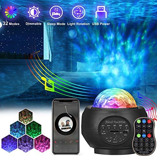 Sternenhimmel Projektor, AMBOTHER LED Projektor Sternenlicht, USB Fernbedienung Nachtlicht, Rotierende Farbwechsel Wasserwellen Projektionslampe, Sterne Musik Lampe mit Timer, für Kinder Erwachsene