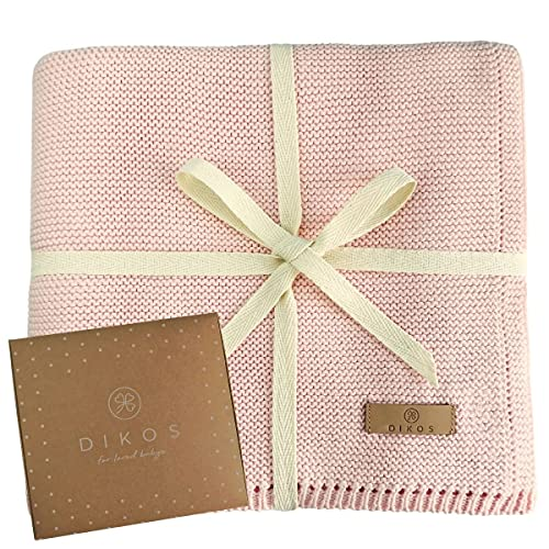 Babydecke Baumwolle rosa | 100% GOTs BIO Neugeborenen Decke | atmungsaktive Baby Sommerdecke mit dünner Bordüre für Mädchen | leichte Strickdecke Baumwolldecke | nachhaltiges Geschenk zur Geburt