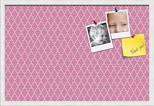 PinPix ArtToFrames 30x20 Custom Cork Bulletin Board. This Quatrefoil Pink Pin Board Has a Fabric Style Canvas Finish, Framed in Satin White (PinPix-283-30x20_FRBW26074)
