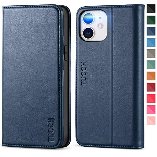 TUCCH Wallet Case for iPhone 12 Mini 5G, Premium PU Leather Folio Case with [Kickstand] Card Slot Flip Notebook Cover [Protective TPU Interior Case] Compatible with iPhone 12 Mini 5.4-inch, Dark Blue