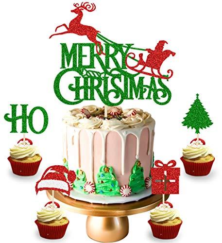 KAPOKKU Merry Christmas Cake Cupcake Topper Set Santa Sleigh and Reindeer Cake Decoration Christmas Decorations for Home Parties Christmas Home Party Decoration