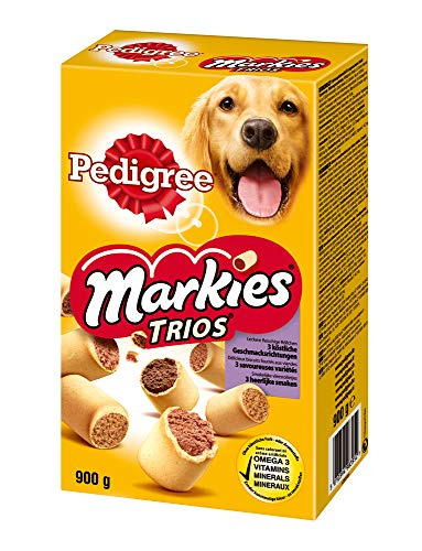 Pedigree Markies Trios – Knuspriger Hundekeks mit 3 verschiedenen Füllungen – Huhn, Lamm & Knochenmark – 10 x 900g