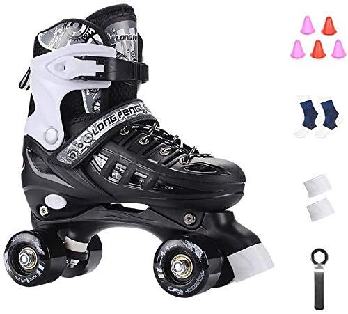 KMILE Patines de Rodillos Patines al Aire Libre, Patines para Rodillos Adult Double Breasted Skates Unisex Ajustable Roller Skates Conjunto Completo (Color : Schwarz, Size : M (EU 35-EU 38))