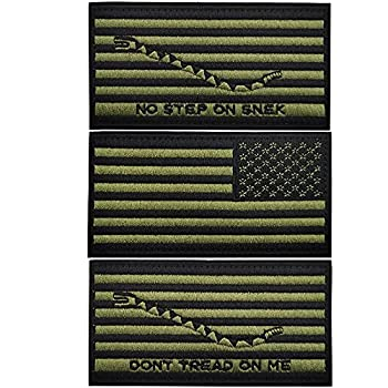 American Flag Don t Tread on Me No Step On Snek Patch Black Green Embroidered Patches Sewing Appliques Badges - Hook and Loop Fastener Backing - Bundle of 3 Pieces