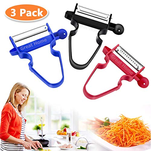 Great Home Magic Trio Sparschäler 3er Set für Küche Obst & Gemüse Friut and Vegetable peelers (3 STK)