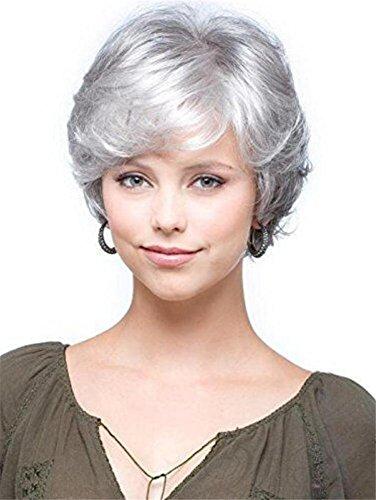 Corto Gris Blanco Rizado Peluca Natural Ondulado Mullido Astilla Cabello para Antiguo Medio Años Mujer y abuela