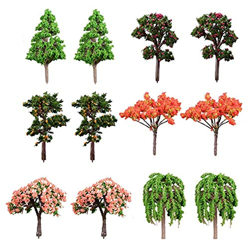 Miniature Fairy Garden Tree Artificial Tree Plant Ornament, 12 Pcs Miniature Dollhouse Pots Decor Moss Bonsai Micro Landscape DIY Craft Garden Ornament