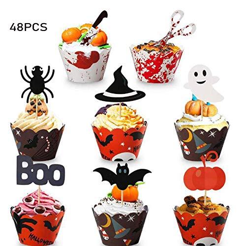 Kalolary Halloween foremki do babeczek Wrapper, 48 szt. Halloween dekoracja tortu z kubkami do babeczek na Halloween przyjęcie kuchnia babeczka pieczenie