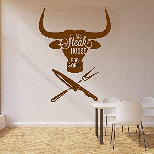 ASFGA Einzigartige Grill Wandaufkleber Fleisch spezielle Grill Grill Steak Haus Rindfleisch Essen Vinyl Wandtattoo nach Hause modernes Wohnzimmer Esszimmer Dekoration 80X105cm