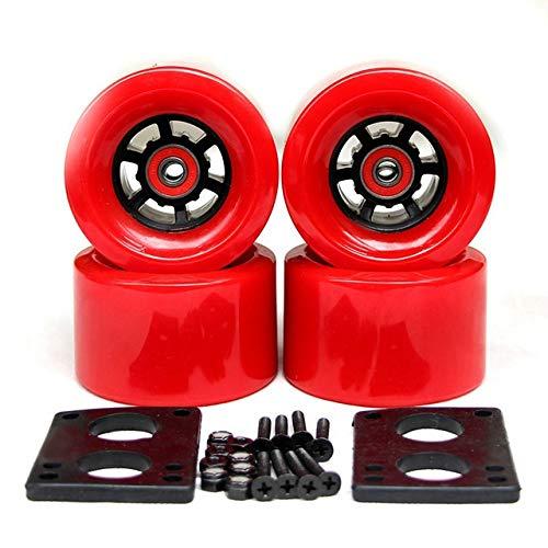 Rueda F-Jiujin 2019 Nuevas Ruedas de Longboard Ruedas de monopatín eléctrico 78A 90 * 52 mm Rodamientos ABEC-9 Bujes Junta de Hardware Piezas de monopatín (Color : 90mm Red Wheels)