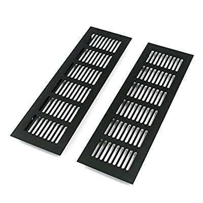Geesatis 2 Pcs Louvered Ventilation Grille Air Vent for Cabinet Shoe Cabinet Hardware Accessories Ventilation Cover, with Mounting Screws, Black, 9.8 x 3.1 inch / 250 x 80 mm by Geesatis
