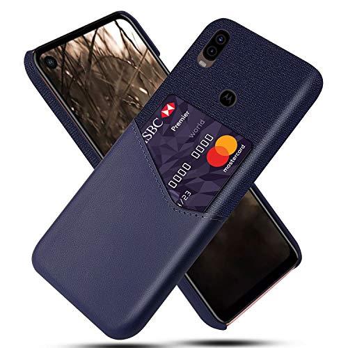 HualuBro Coque pour Motorola One Vision, Etui Housse en PU Cuir Ultra Mince Nylon Antichoc Protection Coque Back Case Cover avec Porte-Cartes pour Motorola Moto One Vision 2019 (Bleu)