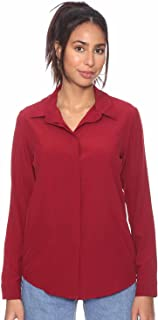 Andiamo Solid Long-Sleeves Concealed-Placket Round-Hem Shirt For Women L