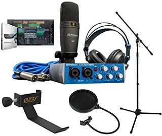 PreSonus AudioBox-96-Studio Complete Hardware/Software Recording Kit with COHH-2 Clamp On Headphone Holder, Tripod Microphone Stand and Pop Filter Bundle