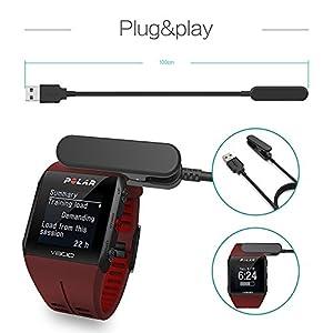 TUSITA Cargador para Polar V800 - USB Cable De Carga 100cm - GPS Relojes Accesorios