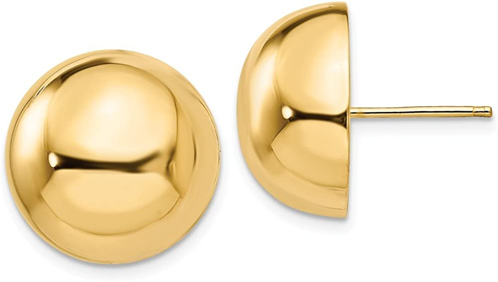 14k Yellow Gold 16mm Half Ball Post Stud Earrings Button Fine Jewelry For Women Gifts For Her