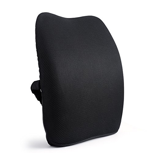 Mkicesky Orthopedic Memory Foam Lumbar Back Support Cushion Pillow for Lower Back Pain?Perfect for recliner office chair sofa car bed couch (Black)