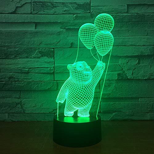 3D Netter Bärenballon Nachtlicht, 16 Farbwechsel Fernbedienung Schlafzimmer Deko USB Tischlampe, Optische Illusions LED Nachtlampe, Für Kinder Weihnachten Geburtstag Beste Geschenk Spielzeug