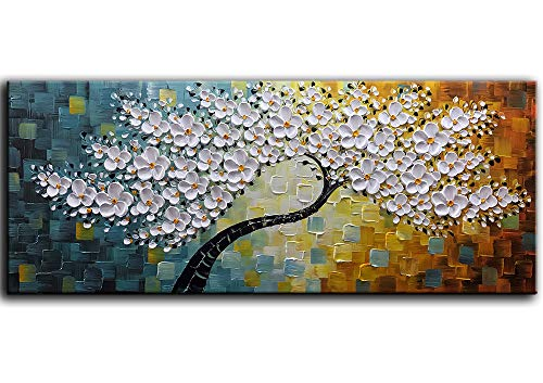 YaSheng Art -100% Hand-Painted Contemporary Art Oil Painting On Canvas Texture Palette Knife Tree Paintings Modern Home Interior Decor Abstract Art 3D Flowers Paintings Large Canvas Art 24x60inch