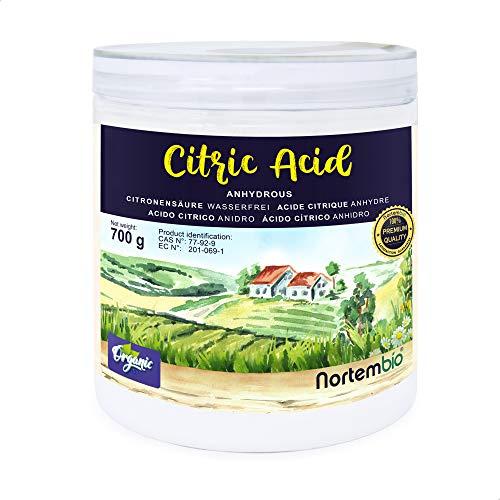 Nortembio Acide Citrique 700g. Poudre Anhydre, 100% Pure. pour la Production Biologique. E-Book Inclus.