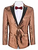 JINIDU Shiny Sequins Suit Jacket Blazer One Button Tuxedo for Party, Wedding, Banquet, Prom, Nightclub Rose Gold