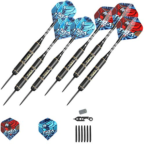 Tikea 6 Stück Steel Dartpfeile - Profi-Pfeile aus Stahl mit Aluminiumschäften, Extra-Flüge, Dartschärfer, Magische Box, 27g