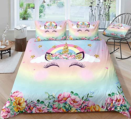 Lovely Face Unicorn Bedding Sets Unicorn Duvet Cover Sets Full Size,1Duvet Cover,2Pillowcase(No Any Comforter Inside)