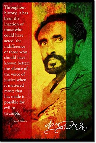 Haile Selassie Kunstdruck (mit signierter Autogramm Nachbildung) Hochglanz Poster - Größe: 12 x 8 Inches (30x20cm)