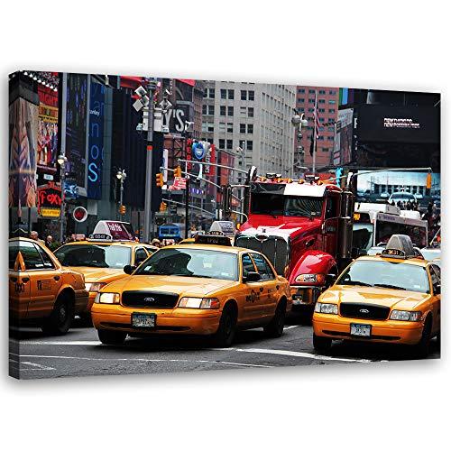 Feeby Bild auf Leinwand Autos Kunstdruck modern New York Gelb 40x30 cm