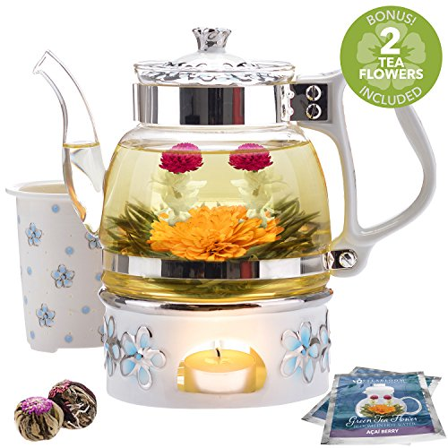 Teabloom Princess of Monaco Teapot & Blooming Tea Gift Set (6 Pieces) - Borosilicate Glass Teapot (34 oz / 1000 ml / 3-4 Cups), Porcelain Lid, Tea Warmer + Candle, Loose Tea Infuser, 2 Flowering Teas