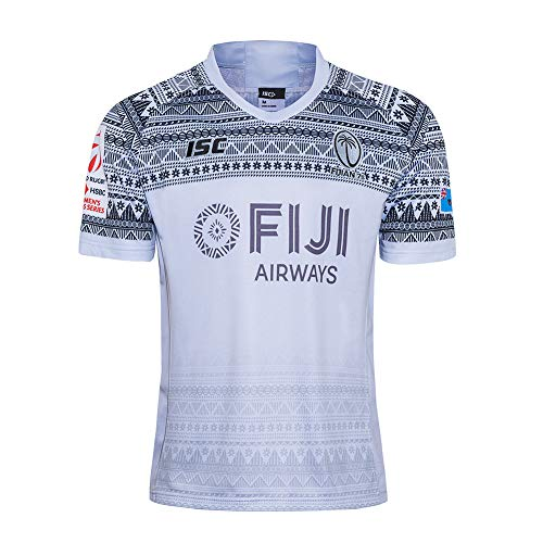Fiji Sevens Rugby Jersey Hombre Verano Deportes Ocio Camisetas Polo De Jersey De Fútbol Transpirable (S-5XL),Blanco,XL