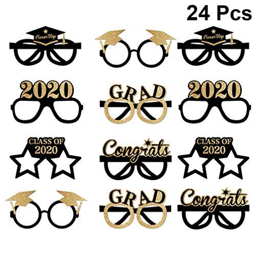 Amosfun Abschlussbrille 2020 Glitter Grad Brillengestell Ausgefallene Dekorative Brillen Feier Congrats Gastgeschenk für Abschlussfeierdekorationen 24St