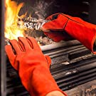 NoCry Heavy Duty Heat Resistant & Flame Retardant Welding & BBQ Gloves, Premium Cowhide Leather, Long 14 inch Forearm Protection. Red, Size Large #3