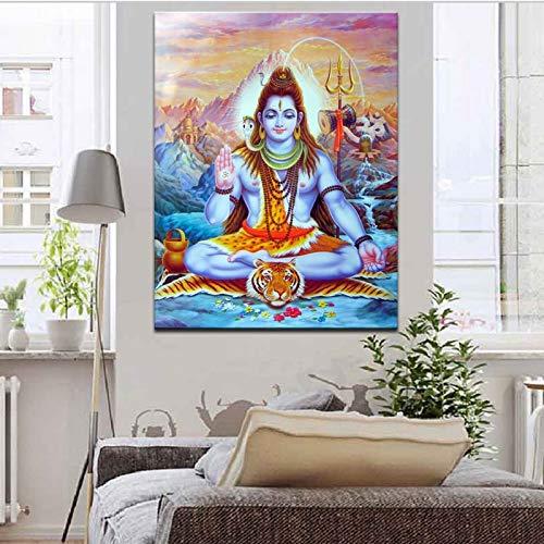 ganlanshu Indisches Gottporträtplakat und Holzschnittwandgemälde auf Leinwandwanddekoration für Wohnzimmer,Rahmenlose Malerei,70X126cm