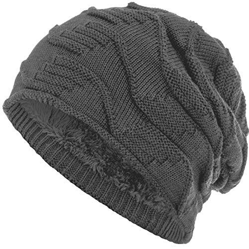Compagno Mütze warm gefütterte Wintermütze elegantes Strickmuster Beanie Einheitsgröße, Farbe:Grau